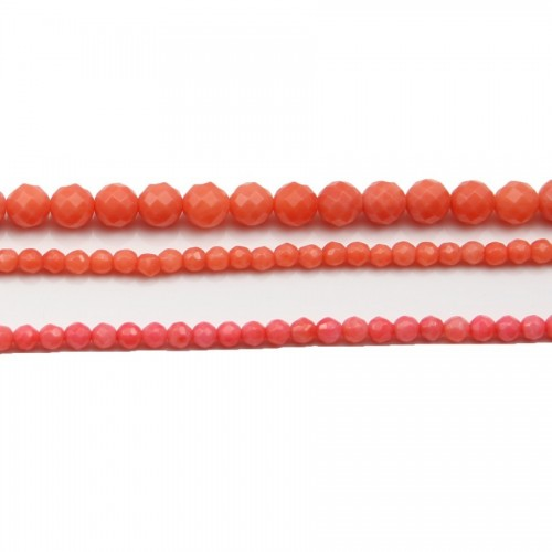 Bambou mer teinte orange Rond Facette 4mm X 20pcs