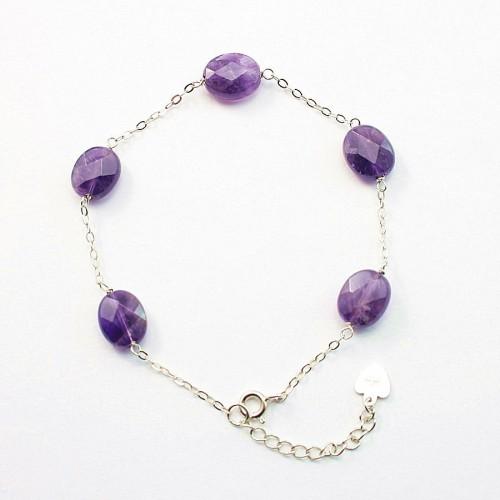Bracelet chaîne argent 925 Amethyste
