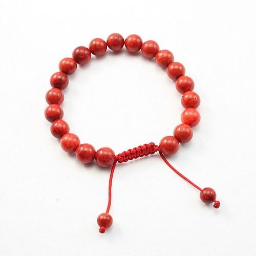 Bracelet corail epouge boule rond 8mm