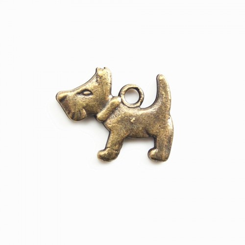 Breloque chien bronze 15mm x 2pcs