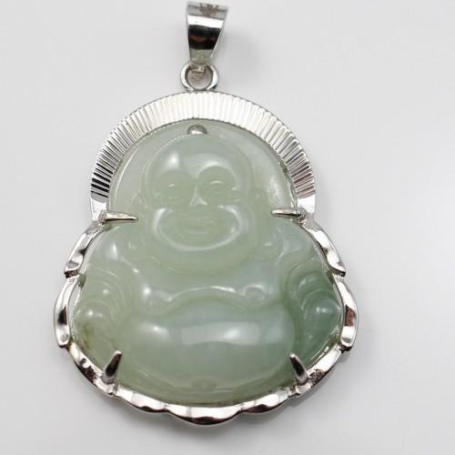 Pendant jade bouddha serti Argent 925 X 1 pc