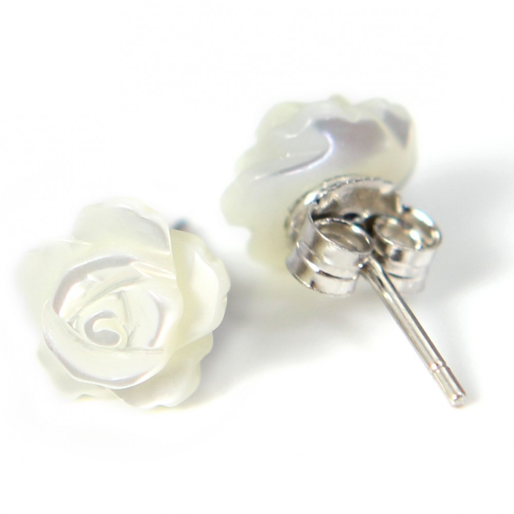 Boucles d oreilles   nacre blanc en fleur   argent 925 8mm x 2 pcs. Loading  zoom f7d5ae47c8d