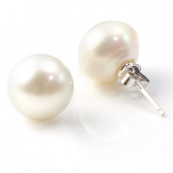 Boucle d'oreille argent 925  perle d'eau douce  11-12mm X 2pcs