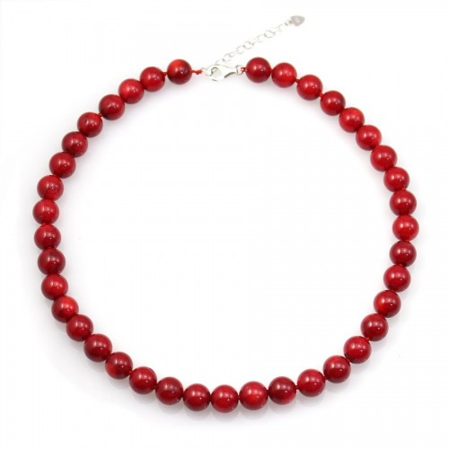 COLLIER SIMPLE BAMBOO MER TEINTE ROUGE ROND 11MM FERMOIR EN ARG925