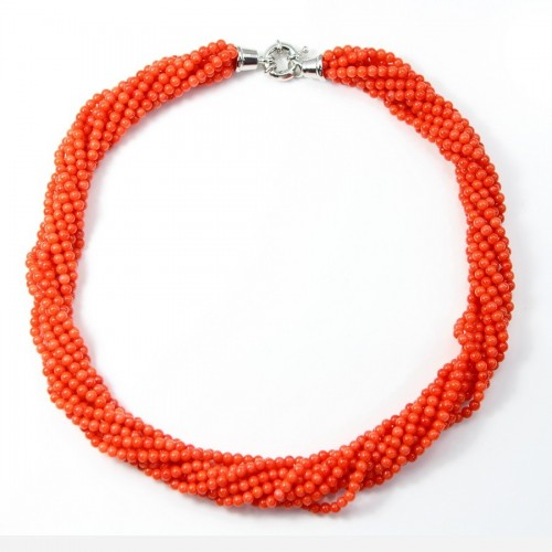 Collier Torsade Bamboo de Mer Teinté Rosé orange 9 rangs
