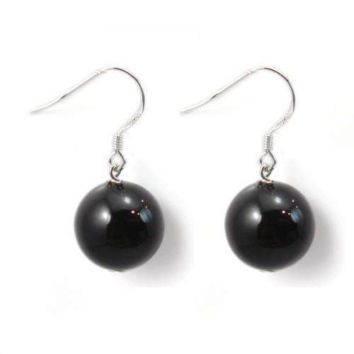Boucle d'oreille argent 925 agate noir 12mm X 2 pcs