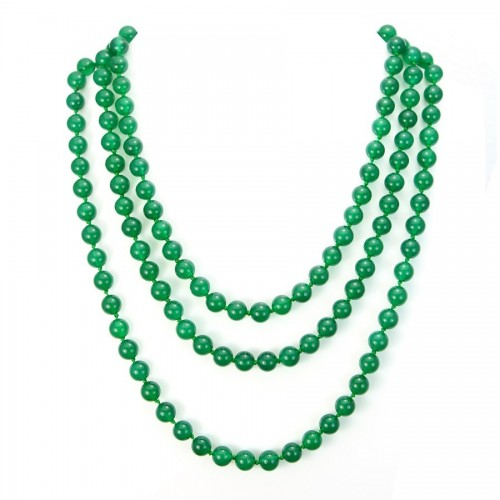 Necklace  green agate round  8.5mm  130cm