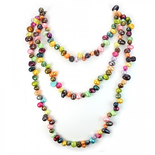 Necklace freshwater pearl multicolor 10-11 mmX   140cm