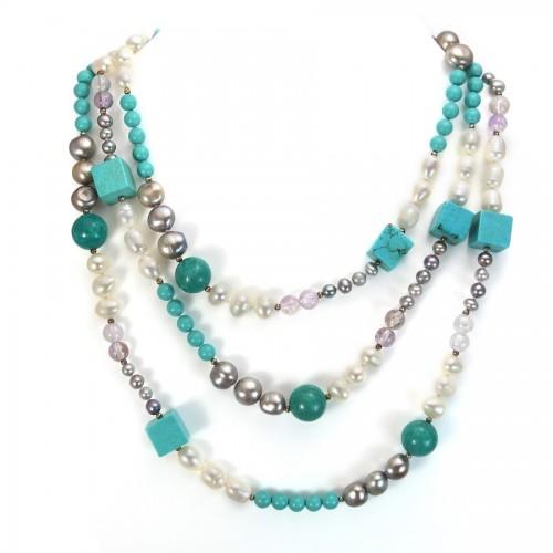 Sautoir Perle D'eau Douce & turquoise reconstitué&cristal 140cm
