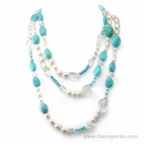 Freshwater Pearl Necklace and stone 140cm