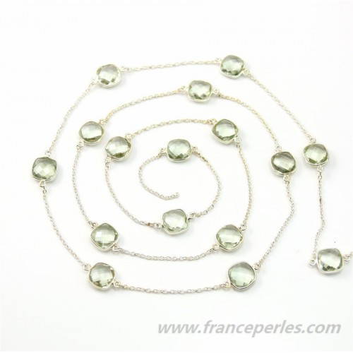 Sterling Silver Chain with Prasiolite qsuare of 11mm x 50cm