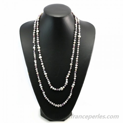 Gray and violet freshwater pearl necklace 140cm