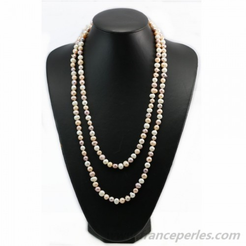 Multicolor rose freshwater pearl necklace 140cm