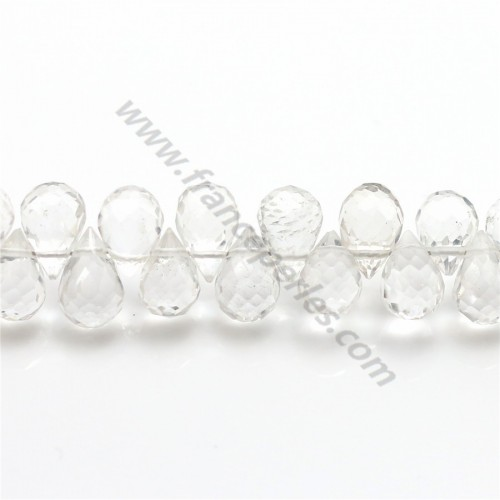 Cristal de roche goutte facette 4-5*7-8mm X 1pc