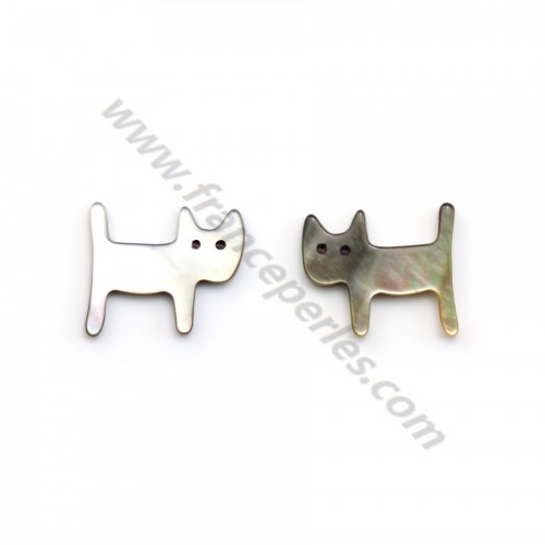 Nacre grise en forme de chat 12x14mm x 1pc