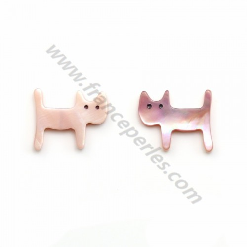 Nacre rose en forme de chat 12x14mm x 1pc