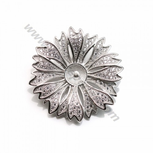 Argent 925 zirconium épingle à broche en forme de fleur 30mm x 1pc