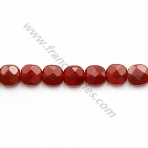 Agate rouge carré facette 6mm x 40cm