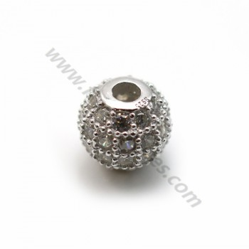 925 sterling silver ball with zirconium 6mm x1pcs