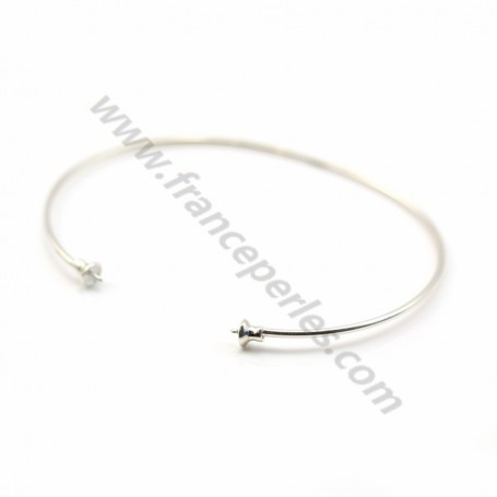 Bracelet jonc flexible 60mm pour perle semi-percée en argent 925 x 1pc