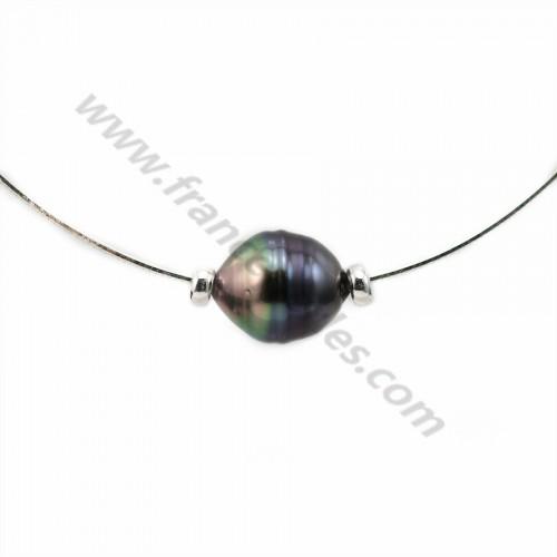 Collier  Perles Tahiti Chaîne Argent 925 40cm x 1pc