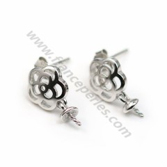 Clou d'oreille fleur, 9*12mm, coupelle 4mm x 2pcs