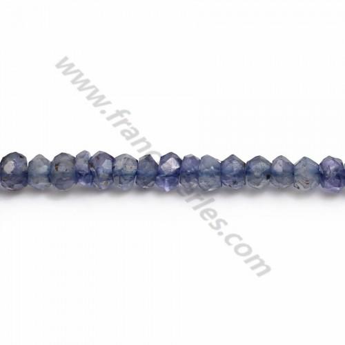 Iolite rondelle facette 3.5-4.5mm x 35cm