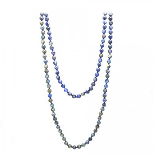 Sautoir lapis-lazuli  ronde 8mm 140cm