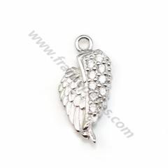 Breloque en forme d'ailes, en argent 925 rhodié & zirconium, mesurant 6*13.5mm x 1pc