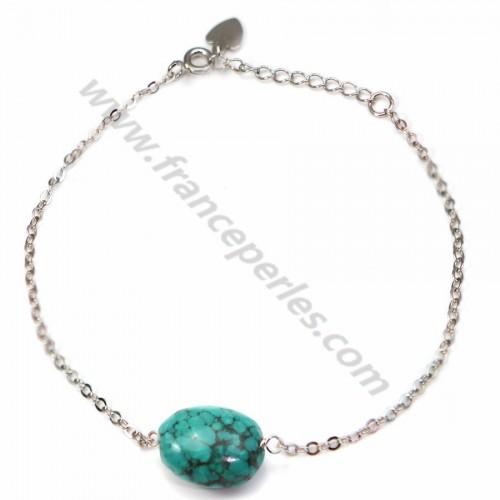 Bracelet chaîne argent 925 turquise ovale