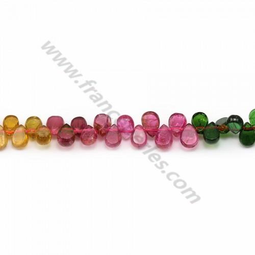 Tourmaline multicolore, en forme de goutte plate, 4 * 5.5mm x 43cm