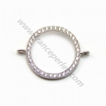Spacer silver 925  with zirconium oxide round 18.5mm x 1pc