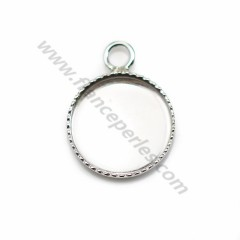 Pendant in 925 silver, with set for round cabochon of 12mm x 1pc