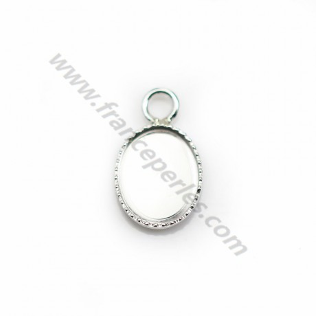 Pendentif serti en argent 925, pour cabochon de forme ovale, 8 * 10mm x 1pc