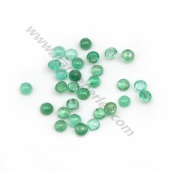 Green emerald cabochon, in round shape x 1pc