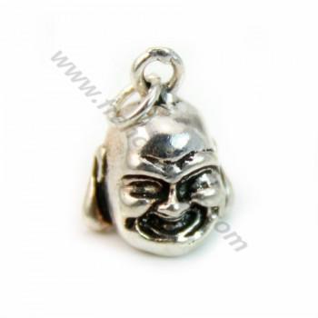 Breloque à tête de Bouddha Argent 925 10mm avec anneau 4mmX 1 pc