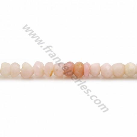 Opale de couleur rose, en forme de rondelle facetté, 4 * 2.5mm x 33cm