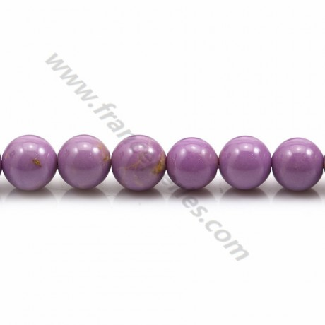 Phosphosiderite violet clair, de forme ronde, 8mm x 39cm