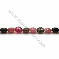 Multicolored tourmaline, in round and flat faceted shape, 6mm x 39cm