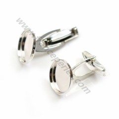 Cuff link with small dish for pearls semi-drilled Sterling silver 925 ,20*8*17.5 mm x 2pcs