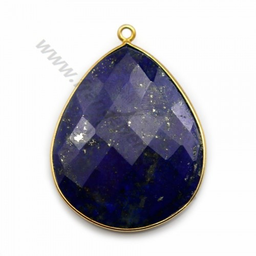 Lapis lazuli pendant set in gold-plated silver, in the shape of a faceted drop, 26*31mm x1pc