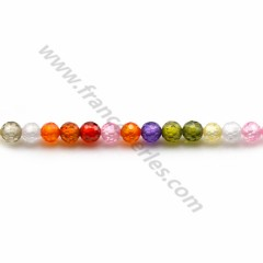 Oxyde de zirconium rond facette multicolore 3mm x 40cm