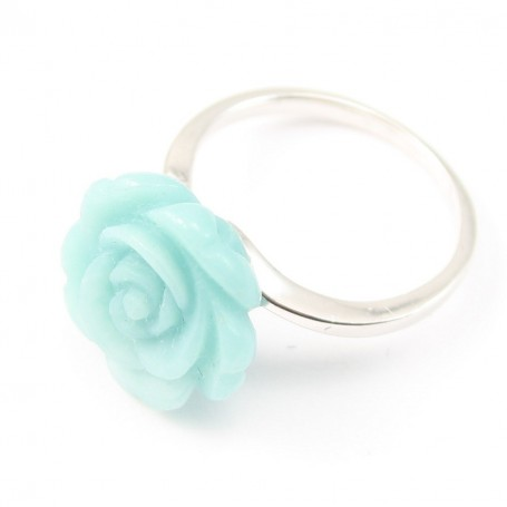 Sterling Silver Ring with Flower on Amazonite