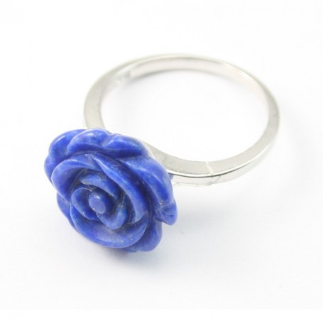 Sterling Silver Ring with Flower on Lapis-lazuli