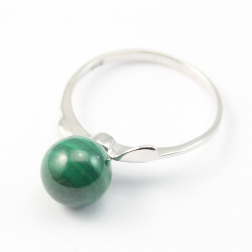 Sterling Silver Ring with Ball on Malachite