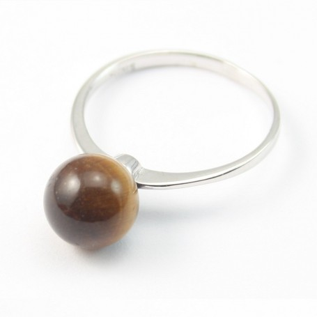 Sterling Silver Ring with Ball on Tiger Eye