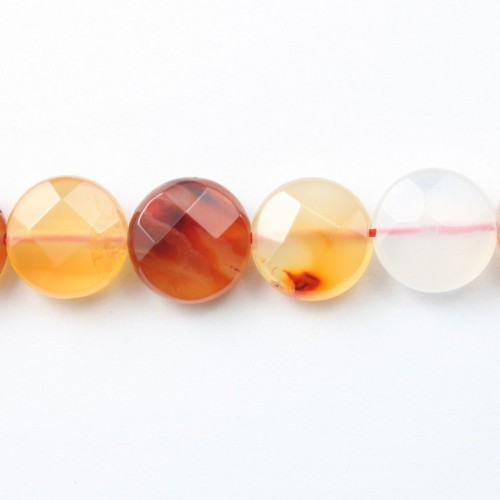 Cornelian Faceted Flat Round 10mm x 40cm
