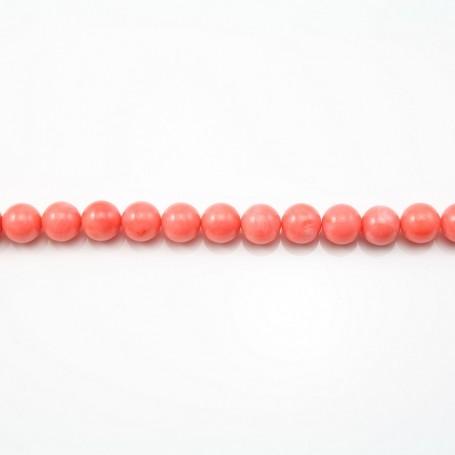 Bambou mer teinté orange Rond 10mm X 2pcs