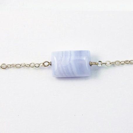 Bracelet silver 925 calcédoine rectangle