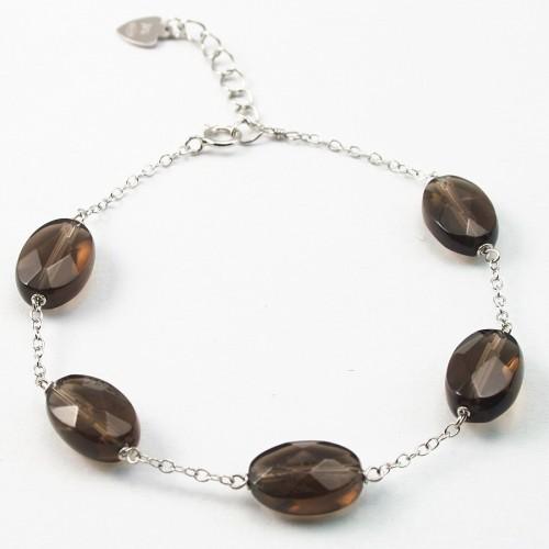 Bracelet chaîne silver 925 Quartez fume